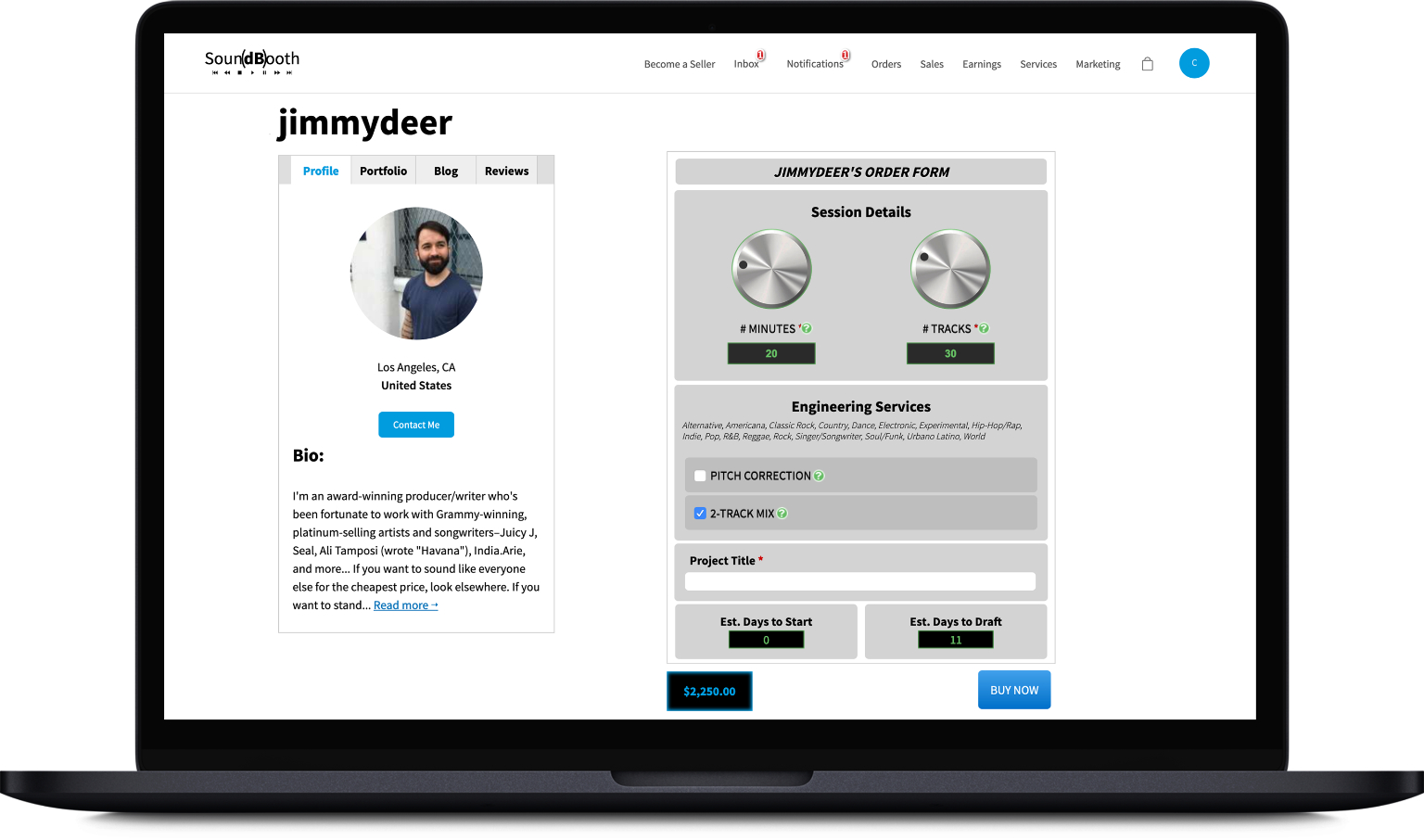 SoundBooth Seller Page