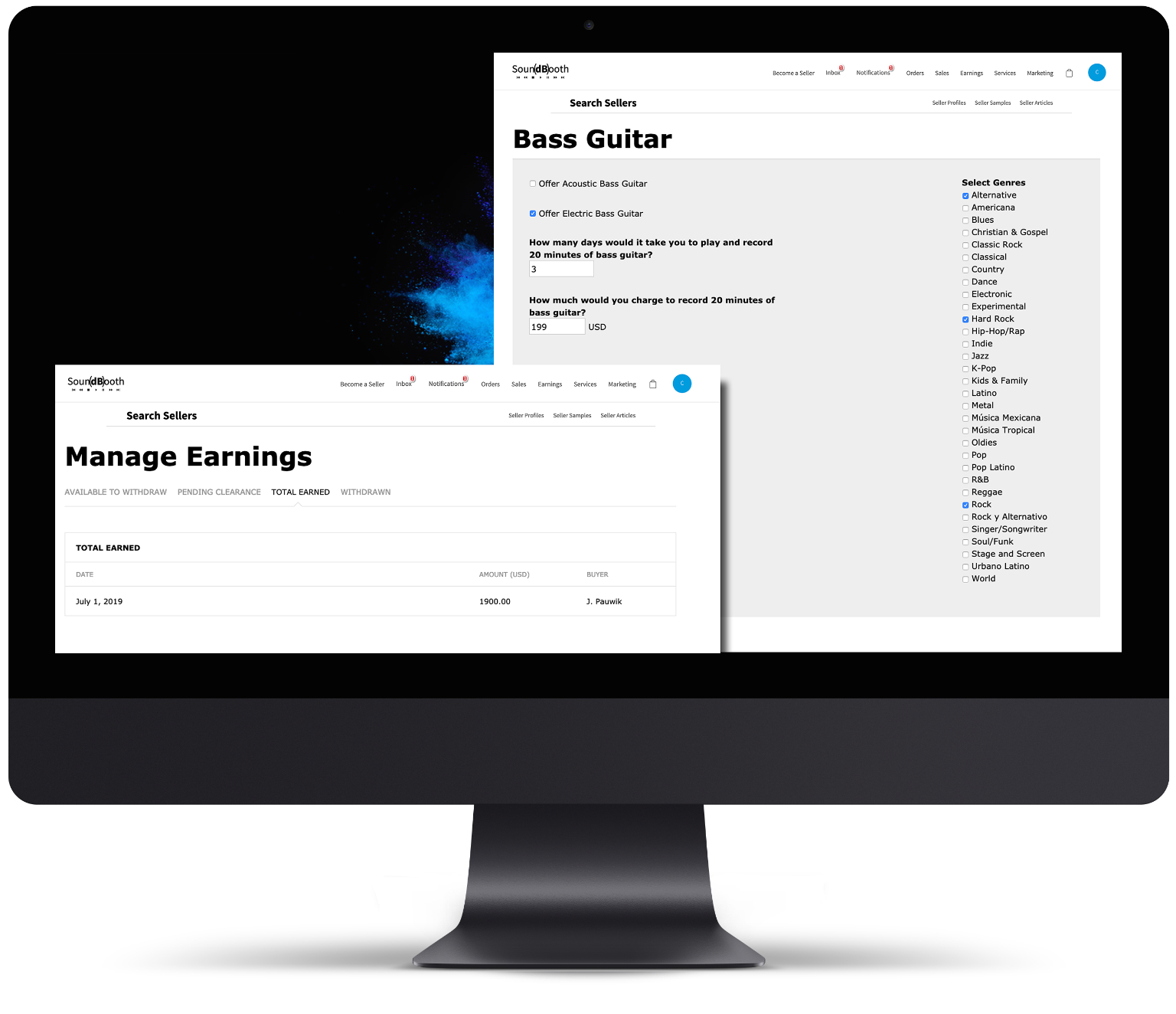 Soundbooth Manage Earnings and Manage Service Pages
